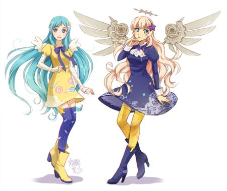 blonde blue_eyes blue_hair boots dress halo long_hair meago wings // 827x697 // 440.1KB
