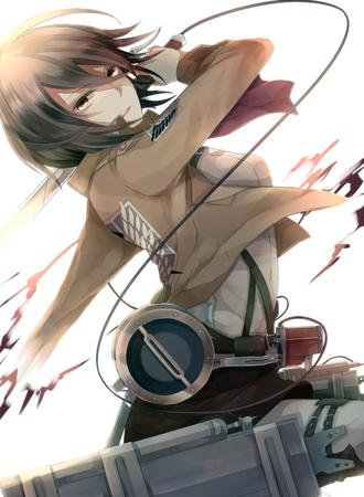 brunette jacket mikasa_ackerman scarf shingeki_no_kyojin sword // 1100x1500 // 346.6KB