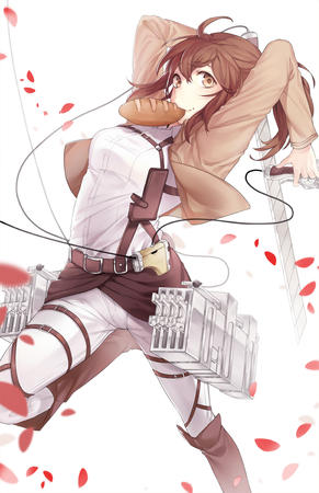 boots bread brunette jacket ponytail shingeki_no_kyojin sword // 800x1236 // 454.4KB