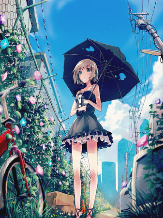 bicycle blue_eyes dress flower umbrella // 1496x2000 // 848.4KB