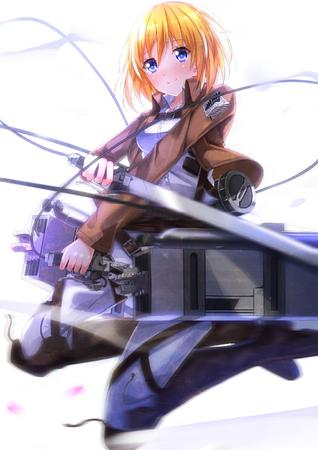 blonde blue_eyes boots jacket shingeki_no_kyojin sword // 1018x1440 // 286.2KB