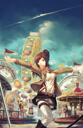 brunette carnival doomfest ferris_wheel ponytail potato shingeki_no_kyojin // 1280x1978 // 1.8MB