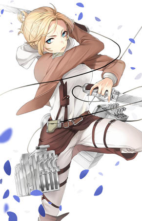 blonde blue_eyes boots jacket shingeki_no_kyojin sword // 800x1236 // 472.6KB