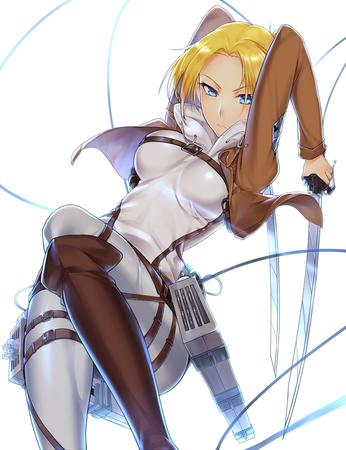blonde blue_eyes boots jacket shingeki_no_kyojin sword // 1000x1300 // 611.6KB