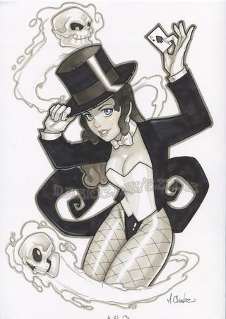 blue_eyes bowtie brunette card dc fishnet hat skull top_hat zatanna // 1172x1650 // 208.5KB