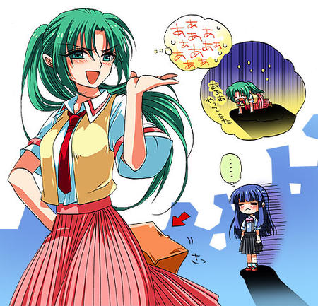 green_eyes green_hair higurashi mion necktie ponytail purple_hair rika skirt vest // 500x481 // 95.9KB