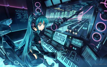 blue_eyes blue_hair boots gloves headphones keyboard long_hair skirt thighhighs train vocaloid // 1920x1200 // 438.2KB