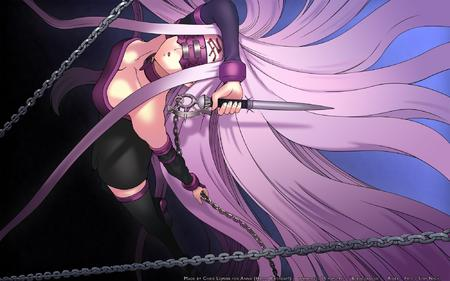 chains dress fate long_hair mask purple_hair rider thighhighs // 2000x1250 // 560.9KB