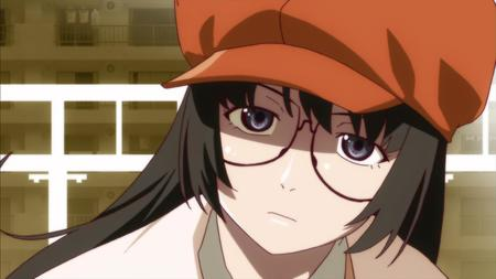 bakemonogatari brunette glasses hat screenshot // 1280x720 // 65.6KB