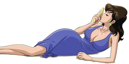 brunette cleavage dress fumiko gun lupin_iii // 3500x1733 // 383.1KB