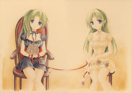 flowers green_hair higurashi mion shion skirt // 700x497 // 112.9KB