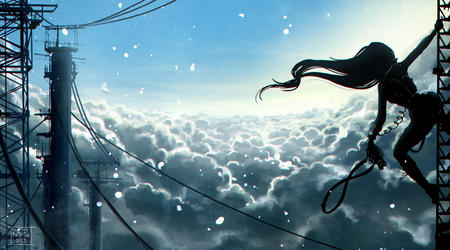 clouds kate-fox long_hair silhouette // 1280x711 // 229.9KB