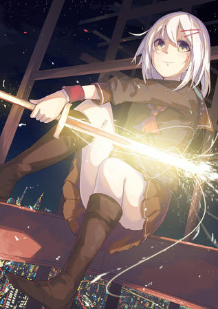 blonde boots pink_hair school_uniform seifuku sparks sweater sword // 1500x2131 // 1.6MB