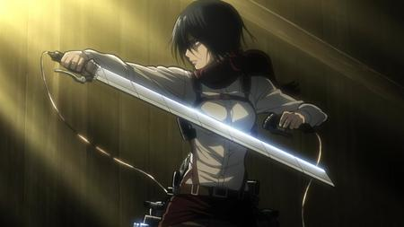 brunette mikasa_ackerman scarf screenshot shingeki_no_kyojin sword // 1280x720 // 59.8KB