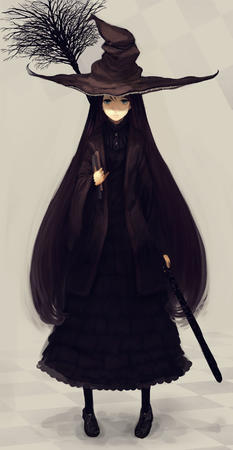 blue_eyes book broom dress hat long_hair witch // 884x1707 // 143.3KB