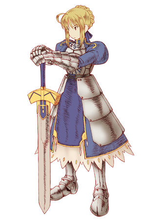 armor blonde dress fate fft final_fantasy gauntlets saber sword // 566x800 // 241.3KB