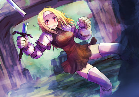 blonde dress fft final_fantasy gauntlets squire sword thighhighs // 750x524 // 254.2KB