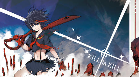 blue_eyes brunette desktop gloves kill_la_kill ripped_clothes ryuko school_uniform scissors seifuku sword // 1800x1000 // 1023.4KB