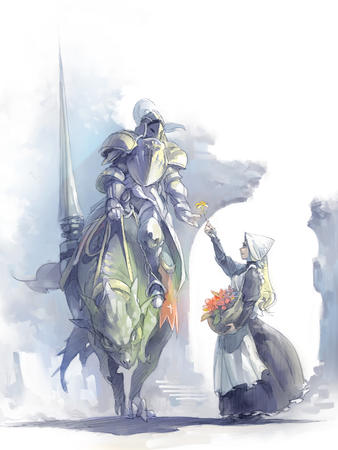 apron armor drake dress flower knight lance // 1200x1600 // 778.1KB