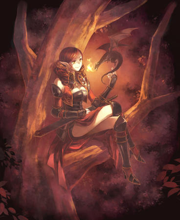 boots dragon elf high_heels redhead sword tree // 1000x1222 // 833.4KB