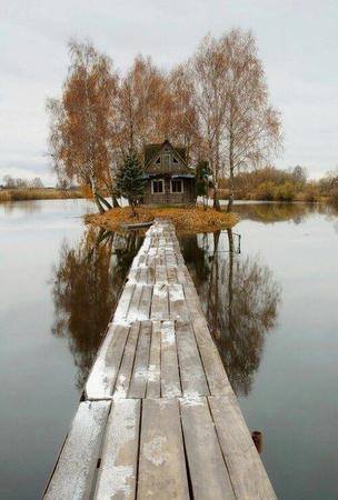 bridge house island lake photo scenery // 500x741 // 62.7KB