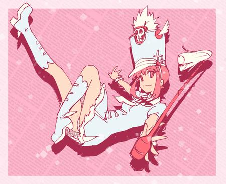 baton boots dress hat kill_la_kill pink_hair // 1000x816 // 616.4KB