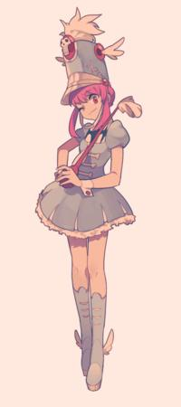 baton boots dress hat kill_la_kill pink_hair wink // 480x1079 // 197.8KB