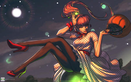 dress halloween high_heels jack-o-lantern pantyhose ponytail redhead wink // 900x563 // 137.4KB