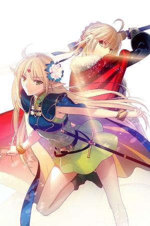 blonde boots braids cape deedlit dress elf fate green_eyes lodoss_wars saber sword // 2331x3500 // 1.2MB