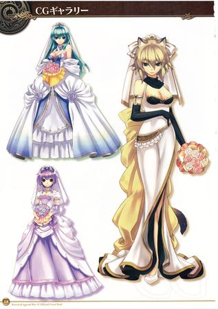 blonde bride cleavage dress flower gloves gown green_hair luminous_prima nekomimi purple_hair // 2156x3056 // 1.5MB