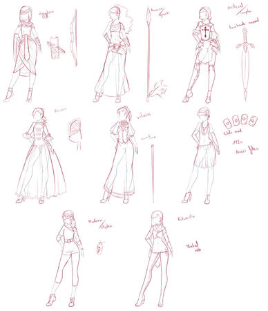 bow composite dress fan high_heels rika_dono sketch skirt spear sword // 900x1044 // 132.9KB