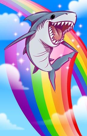 awesome rainbow reaction shark // 463x720 // 54.5KB
