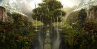 bridge forest giant_tree mountains scenery waterfall // 2000x1014 // 1.8MB
