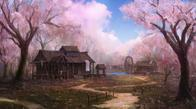 sakura scenery trees waterwheel // 1119x620 // 278.1KB