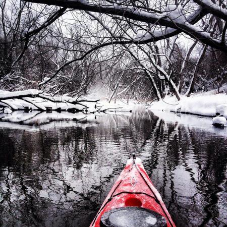 forest kayak photo river scenery snow // 920x920 // 261.5KB