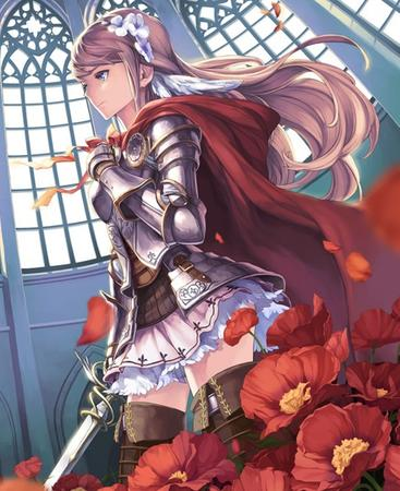 armor blonde blue_eyes boots flower gauntlets long_hair pleated_skirt short_skirt skirt sword thighhighs // 489x599 // 138.3KB