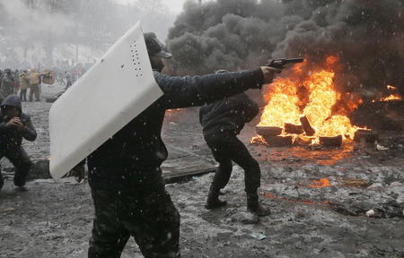 fire gun photo revolver riot shield snow tires ukraine // 1200x767 // 286.7KB