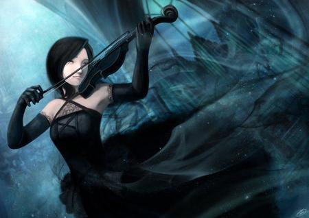 brunette dress gloves violin // 1024x724 // 88.4KB
