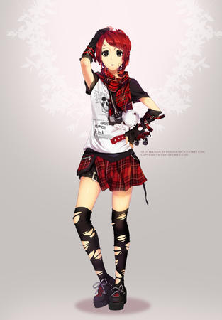 gloves plaid_skirt redhead ripped_clothes scarf short_skirt skirt tee-shirt // 1200x1726 // 398.2KB