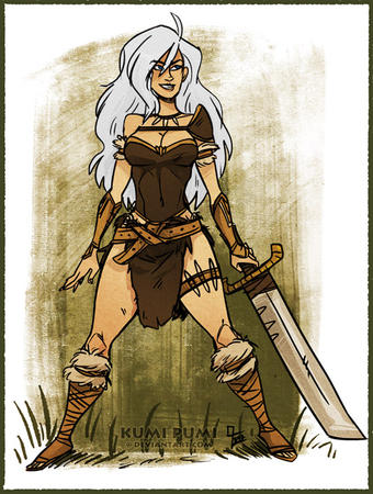 barbarian blonde sword white_hair // 550x729 // 297.6KB