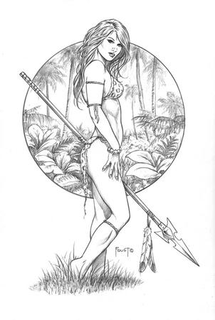 barefoot bikini blonde bw jungle jungle_girl spear // 579x864 // 105.9KB