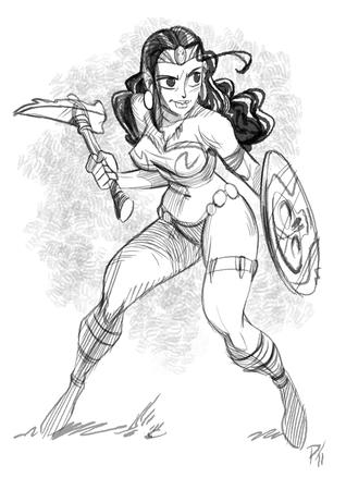 barbarian bikini brunette bw pick shield sketch // 620x877 // 265.4KB