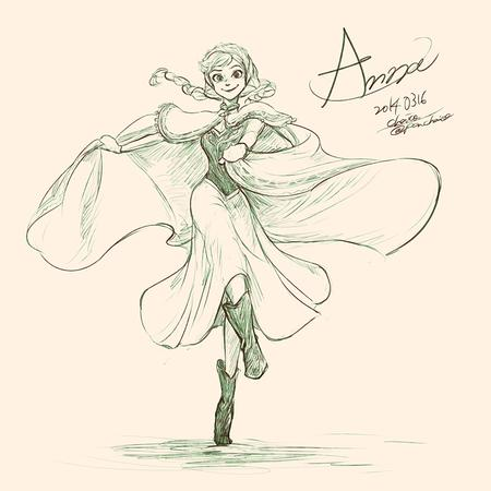 anna boots braids bw cape disney dress frozen sketch // 800x800 // 377.8KB