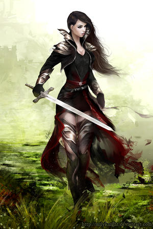 brunette gloves jacket short_skirt skirt sword thighhighs // 600x900 // 467.4KB