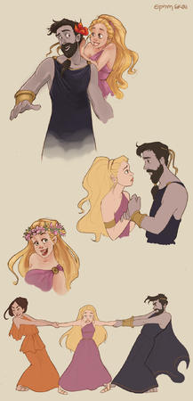 beard blonde brunette cape composite dress hades persephone sandals toga // 1000x2078 // 707.4KB