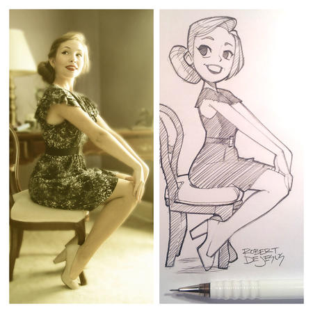 blonde dress high_heels sketch // 750x750 // 351.7KB