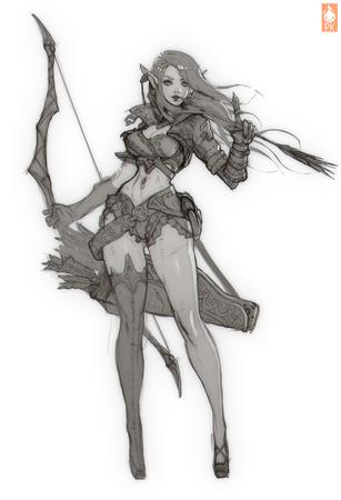 arrows blonde bow bw elf gloves long_hair sketch thighhighs // 800x1171 // 555.1KB