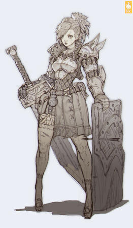 armor blonde bw gauntlets oversized_weapon shield sword // 900x1543 // 230.5KB