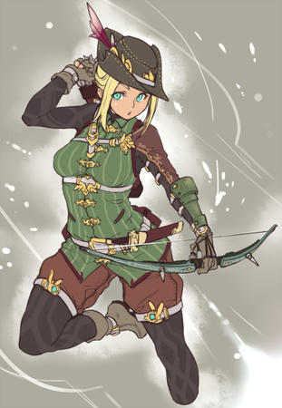 arrows blonde blue_eyes boots bow gloves hat thighhighs vest // 600x868 // 103.2KB
