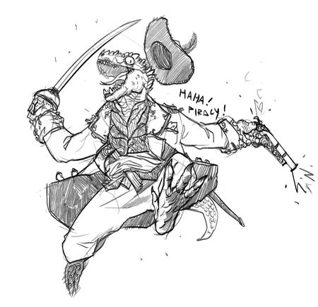 bw gun hat jacket lizardman pirate sketch sword // 1000x967 // 272.6KB
